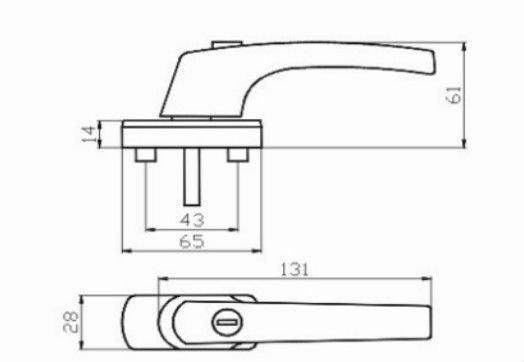 Casement Window Drawing : German upvc casement window handle with lock zinc base