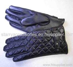 Black PU Winter Glove