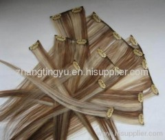 Mixed color clip in hair extension