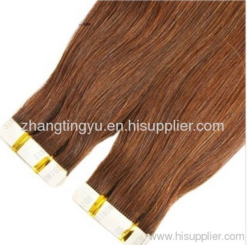 Silky straight tape hair extension