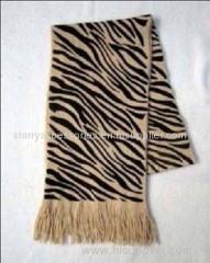 Camel zebra acrylic knitted scarf