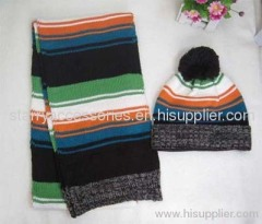 multicolor strip acrylic knitted scarf and hat