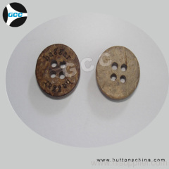raw coconut button with logo natural color