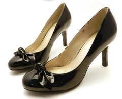 Black stiletto heel bowtie ladies dress shoes