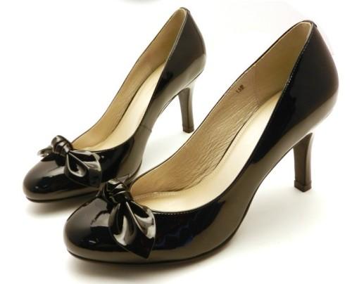 Black stiletto heel bowtie ladies dress shoes