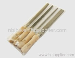 "4pcs 8"" steel file set with wooden handle FSC Certificate"