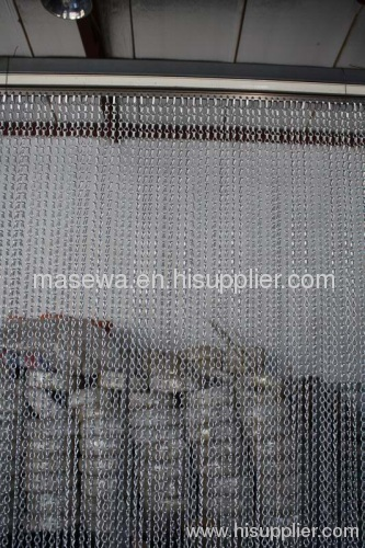 Shiny silver chain link curtain