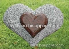 double heart stone statue