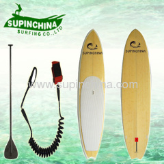 11' BAMBOO SUP PADDLE BOARD WHITE RAIL