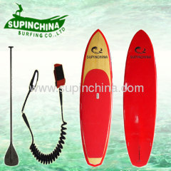 Bamboo sup board with red color design
