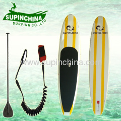 white+yellow sup paddle board