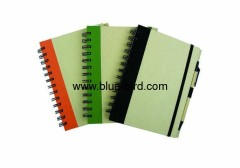 Sprial recycle paper notebook with ballpoint pen