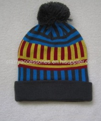 Multi color acrylic mens knitted hat with pom-pom