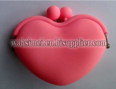 Heart shaped silicone purse for coin