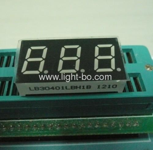 Triple digit 0.4common cathode blue 7 segment led numeric display