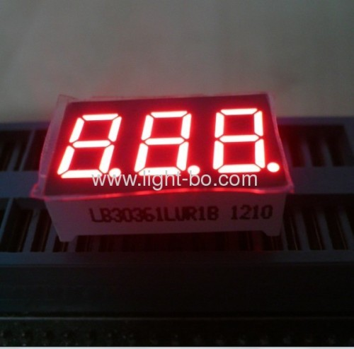 Triple digit 0.36common cathode ultra bright red 7 segment led numeric display