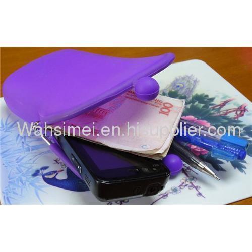 Silicone coin purses with farbic zipper