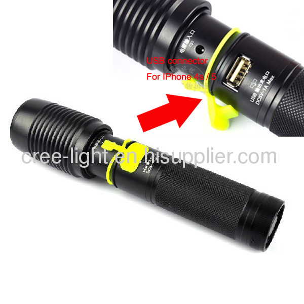 2 in 1500LMPower Style Police T6 XML Torch W/ Iphone 4s /5 Charger ACK-1141