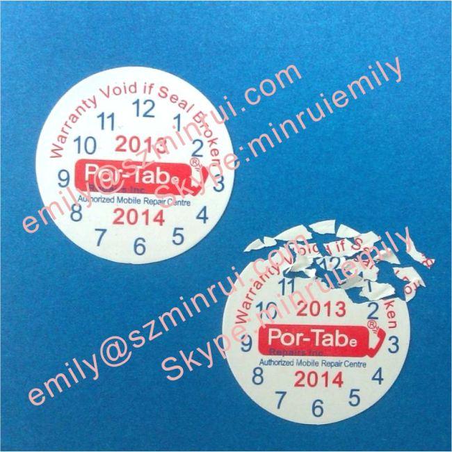 Custom round date warranty stickers for cellphonesdate warranty labels adhesive warranty void stickers