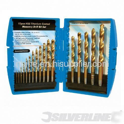 17Pcs titanium hss drill bit set plastic case