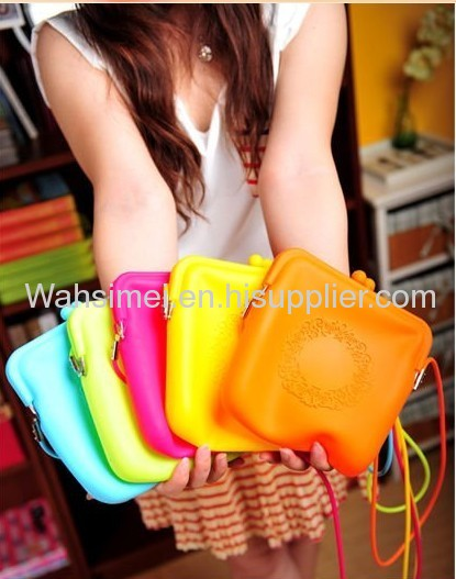 Popular new style candy shoulder silicone handbag