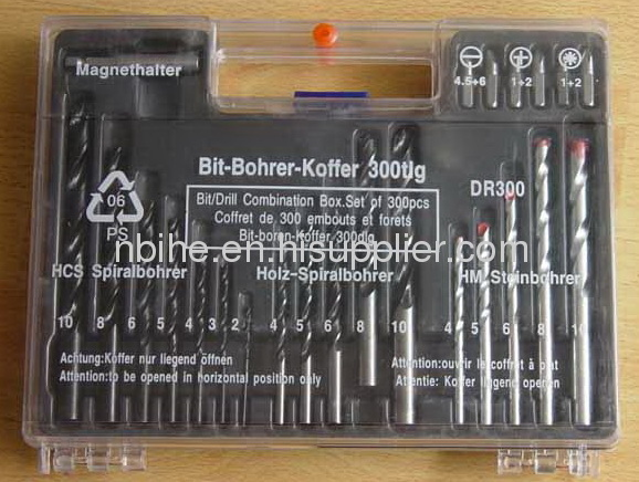300 pcs combination drill set with wall plug