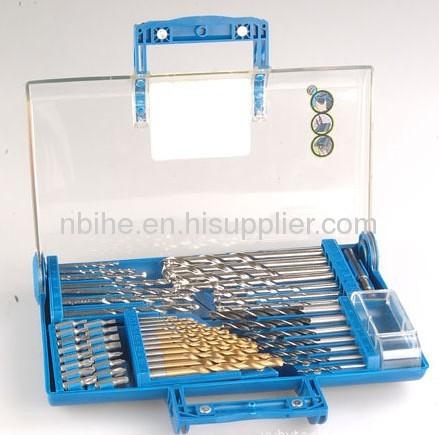 50pc mix Power Drill Bit Set in transparent plastic mould case