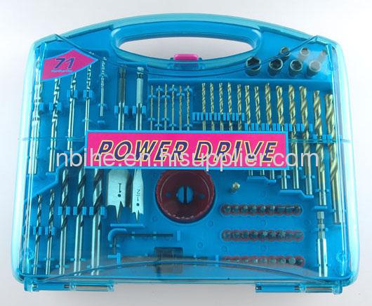 95pc mix Power Drill Bit Set in blue plastic mould case