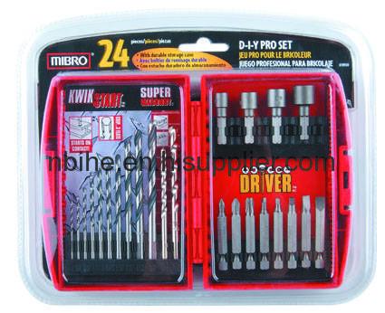 24pc drill and driver bit setplastic box packing