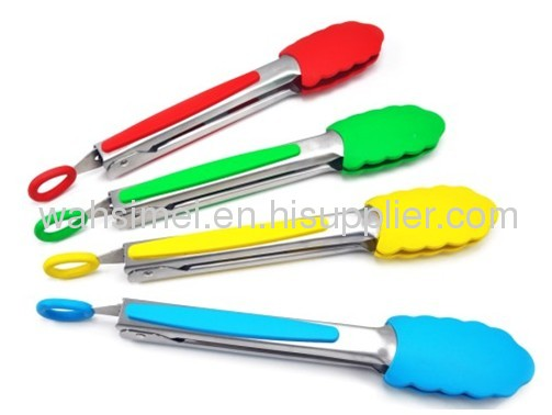 Silicon food tongs with Stainless steel handle