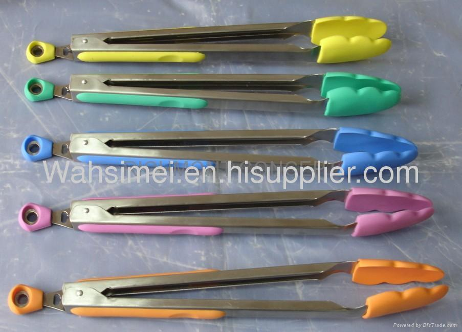 Fshion silicone tongs for cooking with stainless steel arms