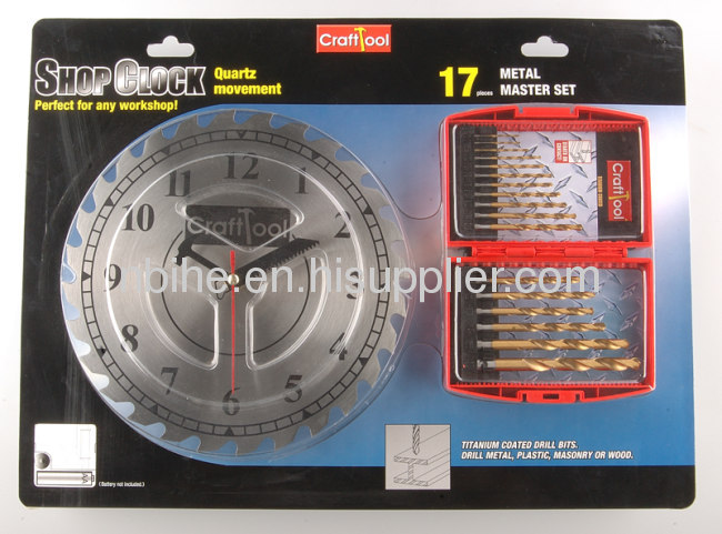 Crafttool DIN338 17Pcs Titanium hss drill bit and clock set