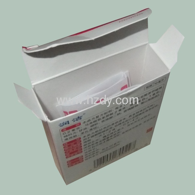 Paper box packaging for eye drops