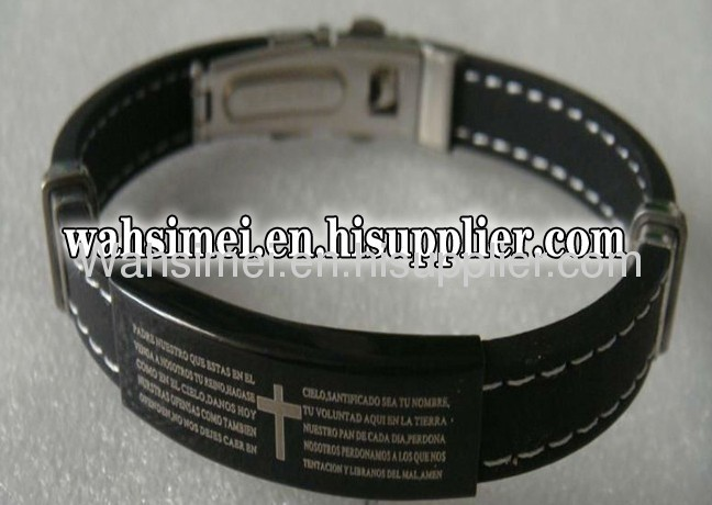 new arrival steel with silicone bracelet with QR