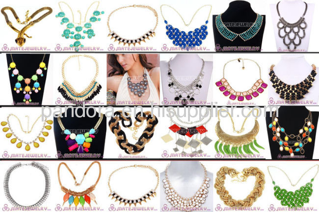 2013 Fashion Choker Gold Chain Resin Bib Necklaces Wholesale For Women