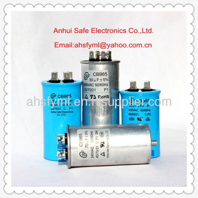 polypropylene film motor capacitor CBB65 running capacitor