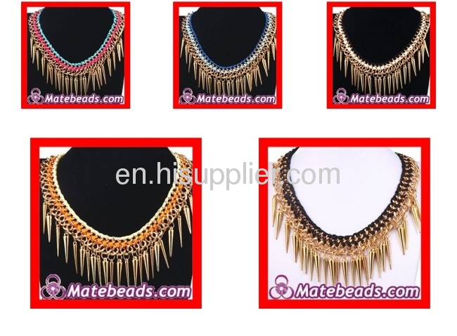 Wholesale Chunky Chain Spikes Tassels Cheap Punk Necklaces For Women