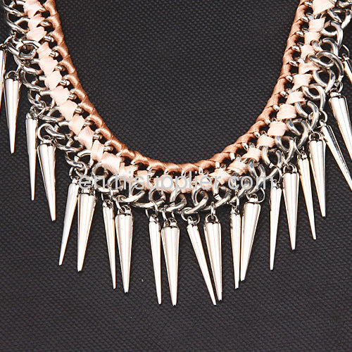Gothic Punk Silver Spike Tassel Choker Bib Necklace For Sale