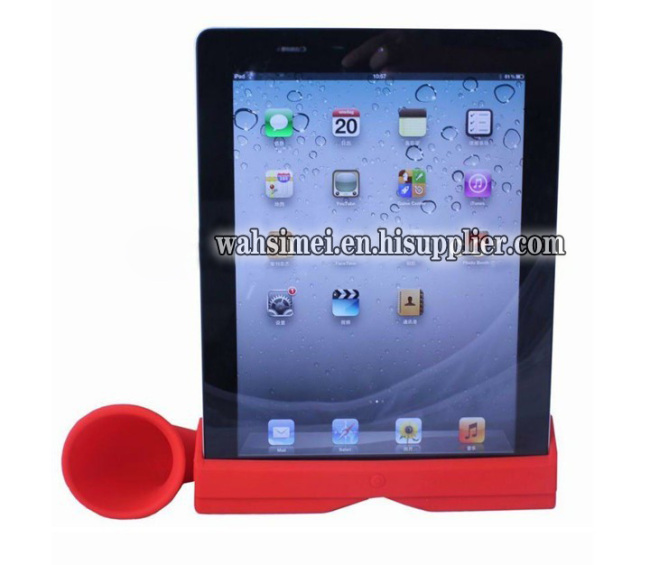 2012 New design silicone horn speaker for iPad