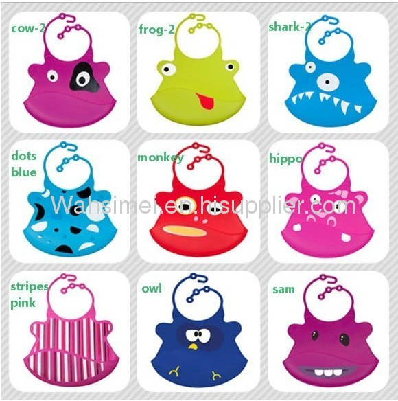 EASY WASHABLE ctue aninaml shape silicone baby bibs