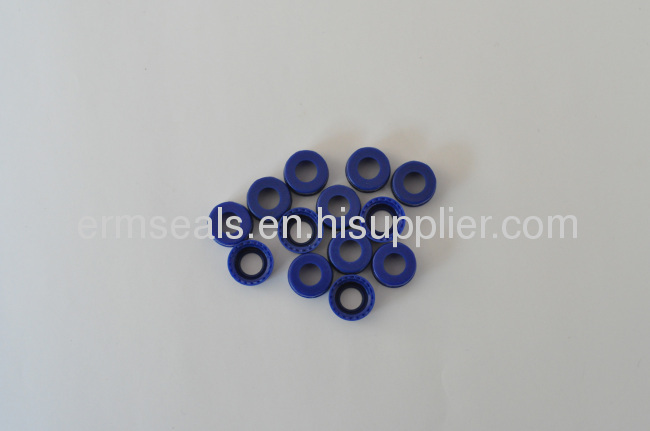 35×2mm Blue PTFE/White Silicone Septa With Pre-Slit Fits On Blue Open Top PP Screw Up