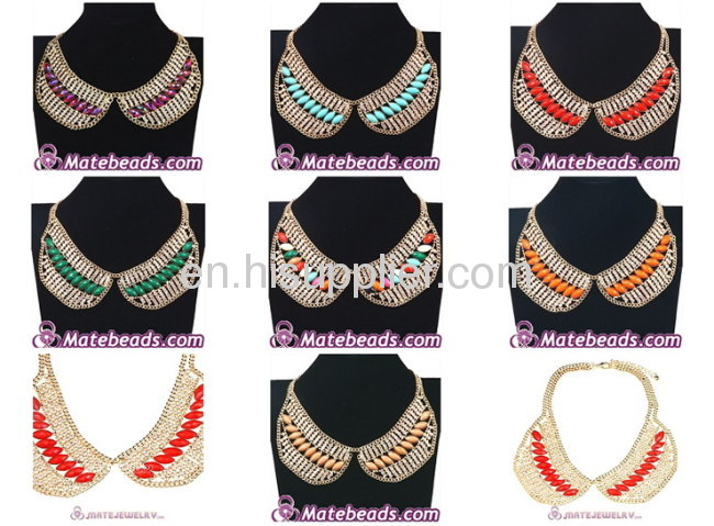 New Design Crystal Resin Gold Plated Metal collar Necklace Wholesale