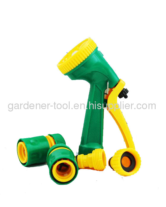 20M 1/2PVC Reinforced Water Hose With 4-Function Garden Water Nozzle Set