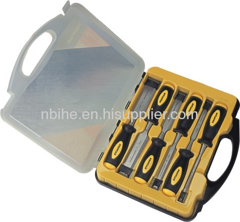 6pcs High quality wooden Chisel Set in power plastic case