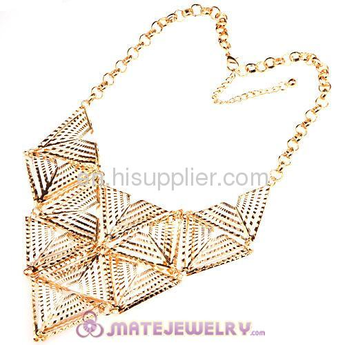 Cool Fashion Large Gold And Red Collar Triangle Bib Statement Necklace