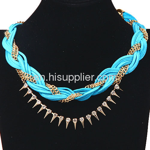 Fashion Gold Chunky Braided Chain Leather Necklace Wholesale