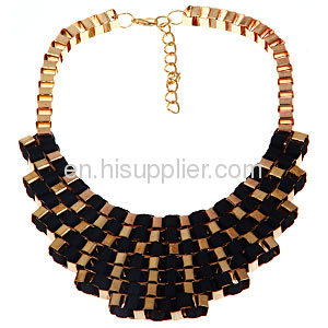 Trendy Multi Layer Statement Black Gold Fallon Veruca Chain Bib Necklace