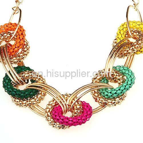 Costume Jewelry Cheap Punk Rock Hoop Link Chain Bib Necklace