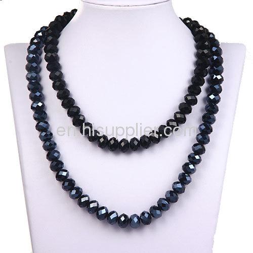 European Fashion Black Unisex Long Glass Bead Kenneth Jay lane Jewelry Necklace Sale