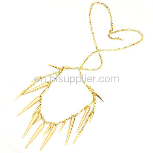 2013 Latest Design Cstume Jewelry Long Spiked Chain Necklace Gold